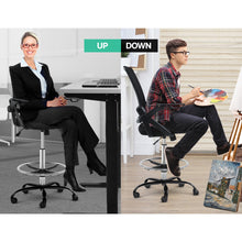 Load image into Gallery viewer, Artiss Office Chair Veer Drafting Stool Mesh Chairs Flip Up Armrest Black