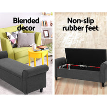 Load image into Gallery viewer, Artiss Storage Ottoman Blanket Box 132cm Linen Fabric Arm Foot Stool Couch Large
