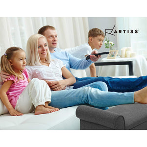 Artiss Storage Ottoman Blanket Box 132cm Linen Fabric Arm Foot Stool Couch Large