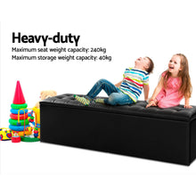 Load image into Gallery viewer, Artiss Storage Ottoman Blanket Box Black LARGE Leather Rest Chest Toy Foot Stool