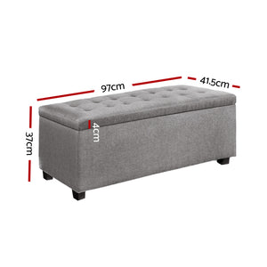 Artiss Large Fabric Storage Ottoman - Light Grey