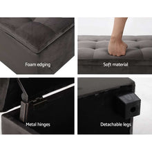 Load image into Gallery viewer, Artiss Storage Ottoman Blanket Box Foot Stool Velvet Chest Toy Large Rest Couch