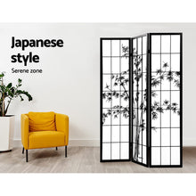 Load image into Gallery viewer, Artiss 3 Panel Room Divider Screen Privacy Dividers Pine Wood Stand Shoji Bamboo Black White