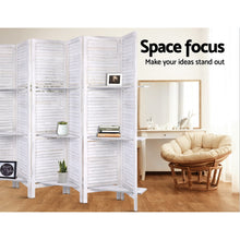Load image into Gallery viewer, Artiss Room Divider Screen 8 Panel Privacy Foldable Dividers Timber Stand Shelf