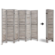 Load image into Gallery viewer, Artiss 6 Panel Room Divider Privacy Screen Foldable Wood Stand Grey