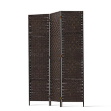 Load image into Gallery viewer, Artiss 3 Panel Room Divider Privacy Screen Rattan Woven Wood Stand Brown