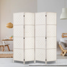 Load image into Gallery viewer, Artiss 4 Panels Room Divider Screen Privacy Rattan Timber Fold Woven Stand White