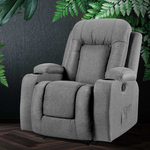 Artiss Recliner Chair Electric Massage Chair Fabric Lounge Sofa Heated Grey