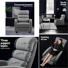Load image into Gallery viewer, Artiss Luxury Recliner Chair Chairs Lounge Armchair Sofa Fabric Cover Grey