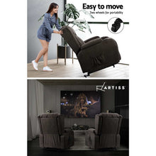 Load image into Gallery viewer, Artiss Electric Recliner Chair Lift Heated Massage Chairs Fabric Lounge Sofa
