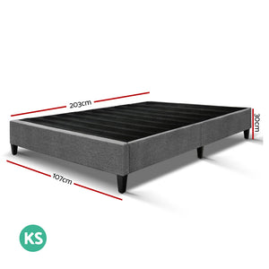 Artiss King Single Size Bed Base Frame Mattress Platform Grey Fabric Wooden