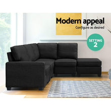 Load image into Gallery viewer, Artiss 5 Seater Modular Sofa Set Chair Bed Suite Couch Dark Grey