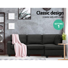 Load image into Gallery viewer, Artiss Sofa Lounge Set 4 Seater Modular Chaise Chair Couch Fabric Dark Grey