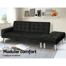 Load image into Gallery viewer, Artiss 3 Seater Sofa Bed Fabric Couch Ottoman Lounge Chair Futon Charcoal