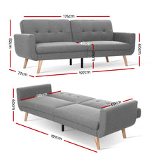 Load image into Gallery viewer, Artiss Sofa Bed Lounge Set Couch Futon 3 Seater Fabric Reliner 197cm Grey