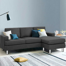 Load image into Gallery viewer, Artiss Sofa Lounge Set Couch Futon Corner Chaise Fabric 4 Seater Suite Dark Grey