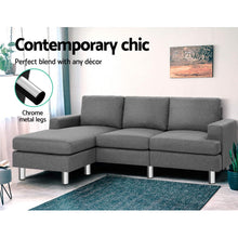 Load image into Gallery viewer, Artiss Sofa Lounge Set Couch Futon Corner Chaise Fabric 4 Seater Suite Grey