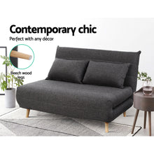 Load image into Gallery viewer, Sofa Bed Lounge Adjustable Seater Futon Couch Linen Fabric Wood Legs Dark Grey