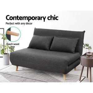 Sofa Bed Lounge Adjustable Seater Futon Couch Linen Fabric Wood Legs Dark Grey