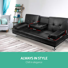 Load image into Gallery viewer, Artiss 3 Seater PU Leather Sofa Bed - Black