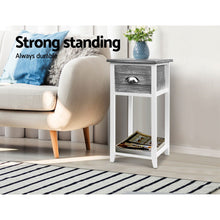 Load image into Gallery viewer, Artiss Bedside Table Nightstand Drawer Storage Cabinet Lamp Side Shelf Unit Grey