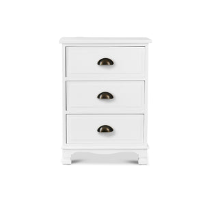 Artiss Vintage Bedside Table Chest Storage Cabinet Nightstand White