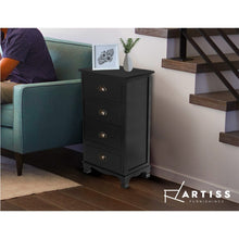 Load image into Gallery viewer, Artiss Vintage Bedside Table Chest 4 Drawers Storage Cabinet Nightstand Black