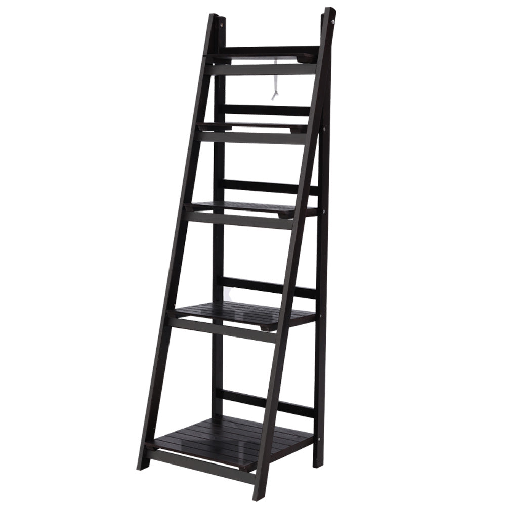 Artiss Display Shelf 5 Tier Wooden Ladder Stand Storage Book Shelves Rack Coffee