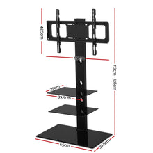 Load image into Gallery viewer, Artiss Floor TV Stand Brakcket Mount Swivel Height Adjustable 32 to 70 Inch Black