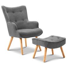 Load image into Gallery viewer, Artiss Armchair and Ottoman - Grey