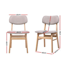 Load image into Gallery viewer, Artiss Dining Chairs Retro Replica Kitchen Cafe Wood Chair Fabric Pad Beige x2