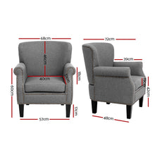 Load image into Gallery viewer, Artiss Armchair Accent Chair Retro Armchairs Lounge Accent Chair Single Sofa Linen Fabric Seat Grey