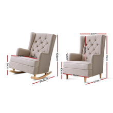 Load image into Gallery viewer, Artiss Rocking Armchair Feedining Chair Fabric Armchairs Lounge Recliner Beige