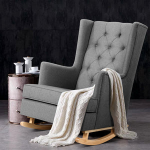 Artiss Rocking Armchair Feeding Chair Linen Fabric Armchairs Lounge Retro Grey