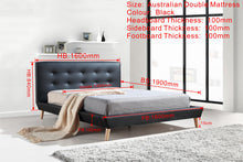 Load image into Gallery viewer, Double PU Leather Deluxe Bed Frame Black