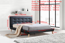 Load image into Gallery viewer, Queen PU Leather Deluxe Bed Frame Black