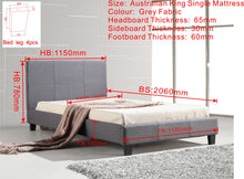 Load image into Gallery viewer, King Single Linen Fabric Bed Frame Grey