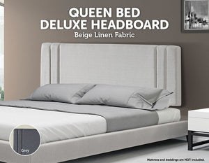 Linen Fabric Queen Bed Deluxe Headboard Bedhead - Beige