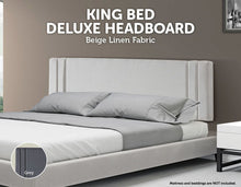 Load image into Gallery viewer, Linen Fabric King Bed Deluxe Headboard Bedhead - Beige