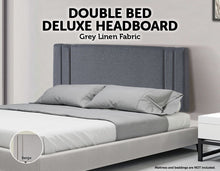 Load image into Gallery viewer, Linen Fabric Double Bed Deluxe Headboard Bedhead - Grey