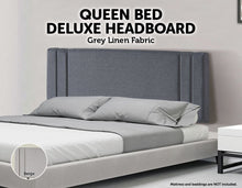 Load image into Gallery viewer, Linen Fabric Queen Bed Deluxe Headboard Bedhead - Grey