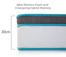 Load image into Gallery viewer, Palermo King Single 20cm Memory Foam and Innerspring Hybrid Mattress