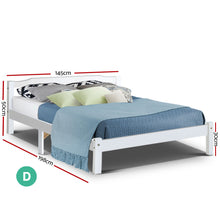 Load image into Gallery viewer, Artiss Double Full Size Wooden Bed Frame Mattress Base Timber Platform White