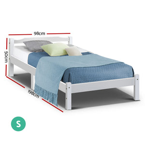 Artiss Single Size Wooden Bed Frame Mattress Base Timber Platform White
