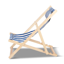 Load image into Gallery viewer, Artiss Fodable Beach Sling Chair - Blue & White