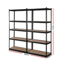 Load image into Gallery viewer, 2x0.9M 5-Shelves Steel Warehouse Shelving Racking Garage Storage Rack Black
