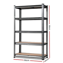 Load image into Gallery viewer, 0.9M 5-Shelves Steel Warehouse Shelving Racking Garage Storage Rack Grey