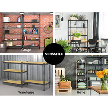 Load image into Gallery viewer, 3x0.9M 5-Shelves Steel Warehouse Shelving Racking Garage Storage Rack Grey