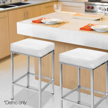 Load image into Gallery viewer, Artiss Set of 2 PU Leather Backless Bar Stools - White