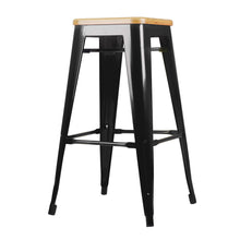 Load image into Gallery viewer, Artiss Set of 2 Wooden Backless Bar Stools- Black
